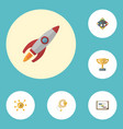 flat icons rocket financing coin and other vector image vector image