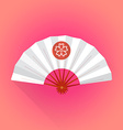flat style white color japanese style hand fan vector image