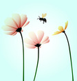 Flowers with flying bee vector image vector image