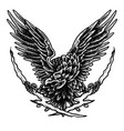 flying eagle - dot work tattoo style1 vector image vector image