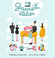 garment atelier advertising poster vector image vector image