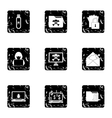 Hacking icons set grunge style vector image vector image