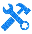 Hammer And Wrench Grainy Texture Icon vector image vector image