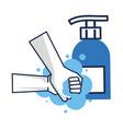 hands weashing with antibacterial soap bottle vector image vector image