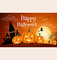 happy halloween night background with dark castle vector image vector image