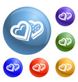 heart candy box icons set vector image