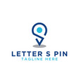 initial letter s and pin map vector image