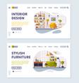 interior design stylish furniture landing page vector image vector image
