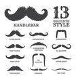 isolated silhouette moustache collection vector image vector image