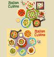 italian cuisine pasta dishes icon set design vector image vector image