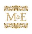 m and e vintage initials logo symbol letters vector image vector image