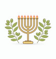 menorah and olives branch cartoon graphic vector image