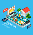 mobile loans isometric concept vector image vector image