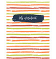 notebook cover template striped background vector image