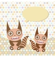 Polka dot background pattern Funny cute monsters vector image vector image