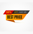 price label special offer sale tag 50 off vector image