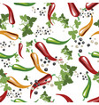 red yellow and green chili peppersgreen leavs vector image