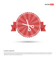 scissors icon - red ribbon banner vector image