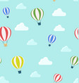 seamless pattern air balloons and clouds vector image