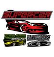 set color supercar vector image