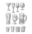 set glass beer whiskey wine gin rum tequila vector image vector image