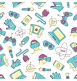 set linear icons virtual reality accessories vector image