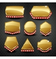 Set of blank golden vintage framebannerlabel vector image