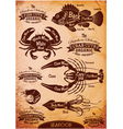 set of diagram cut carcasses seafood vector image vector image