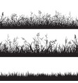 set of grass seamless borders black silhouette of vector image
