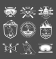 set vintage skiing labels and design elements vector image vector image