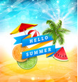 summer fun poster design with watermelon umbrella vector image vector image