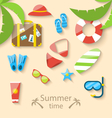 Summer vacation time with flat set colorful simple vector image