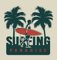 vintage surfing paradise concept vector image vector image