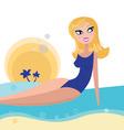 blond girl sunbathing on beach vector image