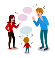 parents quarrel with child cartoon vector image