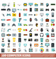 100 computer icons set flat style vector image