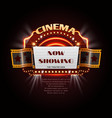 vintage cinema sign glowing movie signboard with vector image