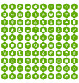 100 christmas icons hexagon green vector image vector image