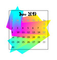 2019 calendar design concept june vector image vector image