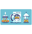 automatic line cleaning and washing car vector image vector image