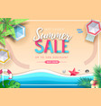 big summer sale top view poster with beach vector image vector image
