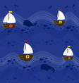 boats in the sea pattern background 2 vector image vector image
