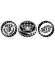 bottle cap set monochrome vector image