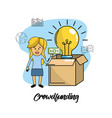 businesswoman with bills in the hand and bulb idea vector image