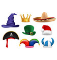 carnival hats masquerade clothes fabric funny vector image