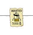 cartoon wanted western criminal vector image