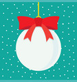 christmas ball with snowy blue background vector image