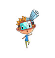 cute scientist boy character working on science vector image