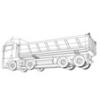 dumper truck dumped wire-frame style the layers vector image