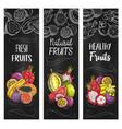 exotic sketch fruits chalkboard banners set vector image vector image